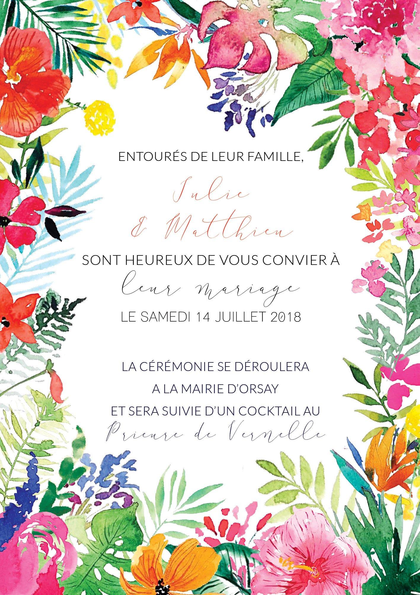 faire part de mariage tropical exotisme fleurs v g tal atelier eksento. Black Bedroom Furniture Sets. Home Design Ideas